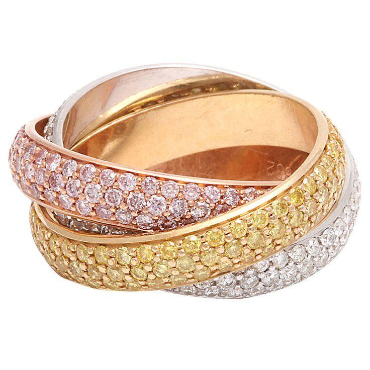 CARTIER Trinity Diamond Tri-Gold Ring ღ