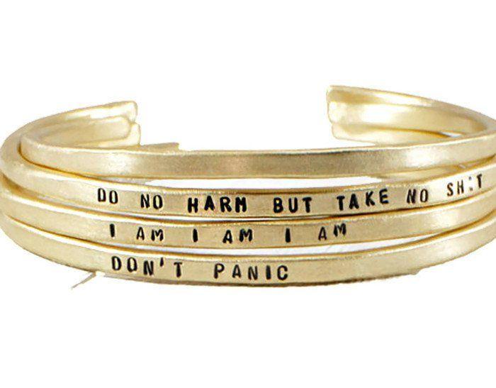 Positive Mantra Cuff Bracelet.