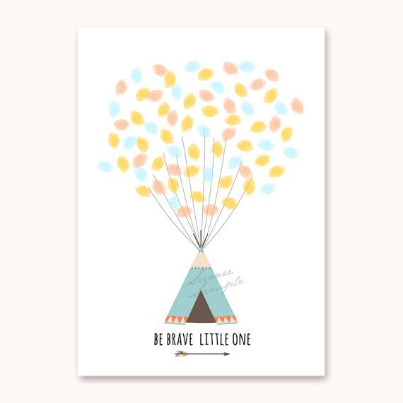 ♥ Tribal Teepee Fingerprint Guest book ♥ Anniversary - baby shower - birthday  SELECT : • Size 8x10, A4, 11x14, A3 • Font number  THIS LISTING INCLUDES :