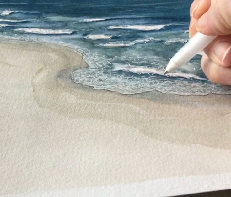 Painting tips - horizon lines, white gel pen foam. Painting the beach, waves