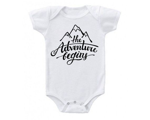 New Baby The Adventure Begins Mountain Onesie by UrbanEarthCo