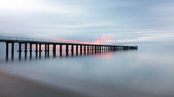 Molo, Beach, Hladký, Západ Slunce