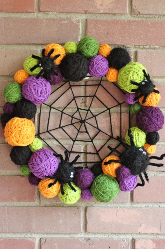 Halloween Wreath Yarn Ball Wreath 14 inches in by whimsysworkshop - cute idea for a DIY - dead link, seller closed shop