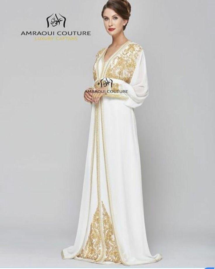 White golden combination white wedding caftan kaftan for White kaftan wedding dress