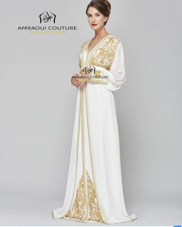 White Wedding Dress With Henna: White Golden Combination #white#wedding#caftan#kaftan