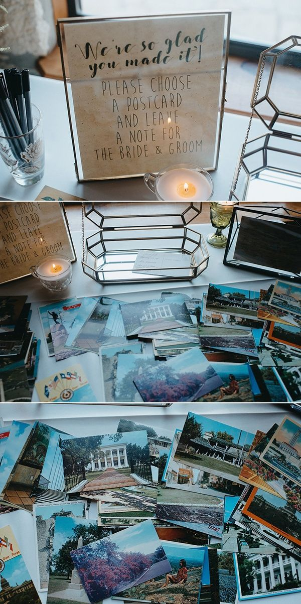 Vintage postcard alternative guest book | Image by You Are My True