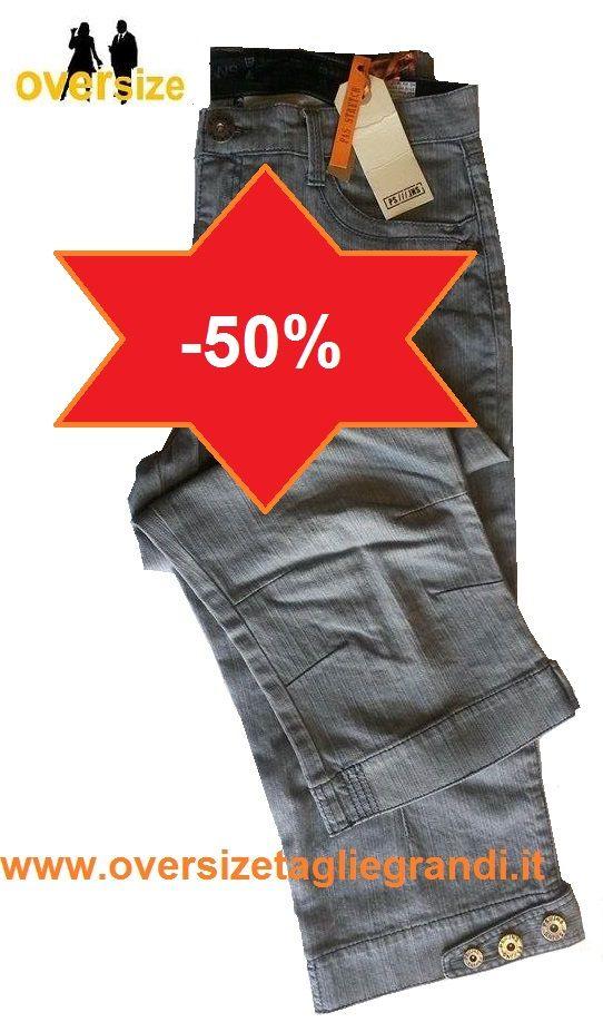 PAS Jeans Stretch a Pinocchietto Taglia Forte - Abbigliamento Taglie Forti Uomo Donna