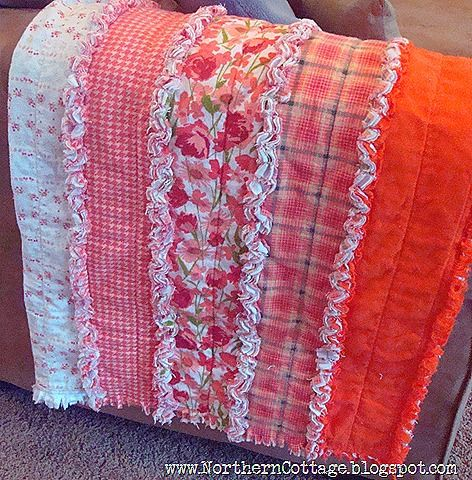 Easy rag quilt made in strips instead of squares. Clever!