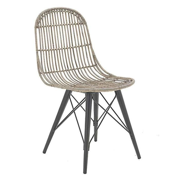 RATTAN CHAIR IN BROWN-GREY COLOR W/METAL LEGS 45X41X92 - Chairs - FURNITURE