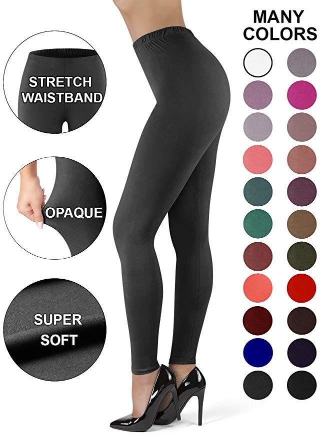 ef999f96f7180a Satina High Waisted Leggings for Women | New Full Length w/Stretch  Waistband | Ultra Soft Opaque Non See Through (PlusSize, Charcoal)