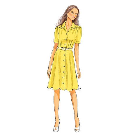 Butterick 5846.  MISSES'DRESS: Dress has collar, self-lined yokes, very loose-fitting, gathered and pleated bodice, bias skirt, side pockets and narrow hem.  Designed for light to medium weight woven fabrics.  Reminds me of the yellow dress Kate wore on the Canadian tour. FABRICS: Crepe, Linen, Silk Jacquard.