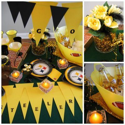 #football party: Football Seasons, Bowls Parties, Theme Parties, Pennant Banners, Steelers Parties, Pittsburgh Steelers, Football Parties, Football Steelers Superbowl, Parties Ideas