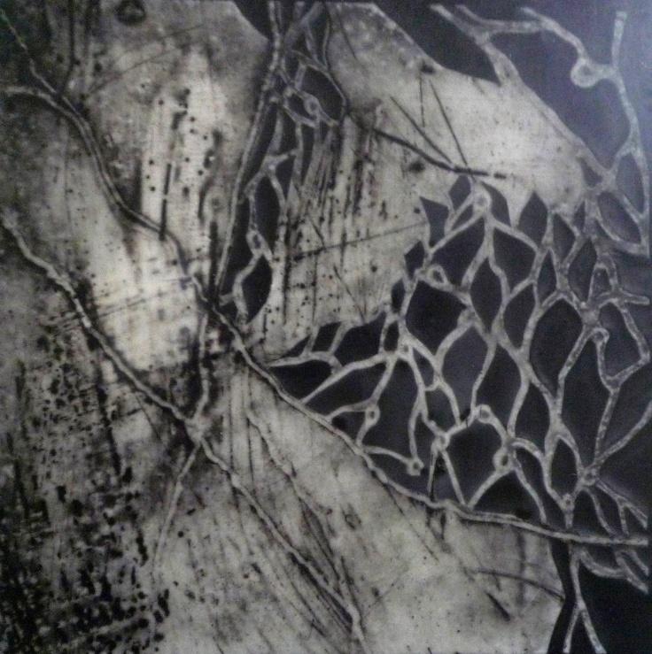 Collograph Resin Black White Abstract Modern by RoaringLionArt/ Pamela Caughey