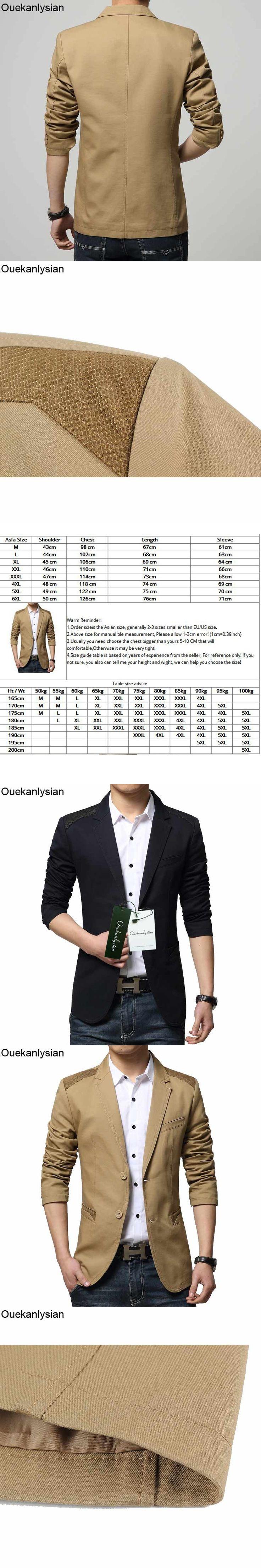 Ouekanlysian Casual Blazer Men Long Sleeve Cotton Slim Fitted Men's Blazer Suit Jacket Business Blazer Terno Masculino