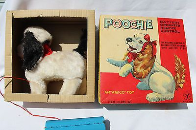 1960's BATTERY OPERATED POOCHIE REMOTE CONTROL WALKING DOG TOY JAPAN WITH BOX