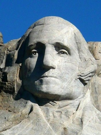 George Washington on Mount Rushmore, First President of the United States. Born 1732, died 1799. Washington led the colonists in the American Revolutionary War to win independence from Great Britain.
