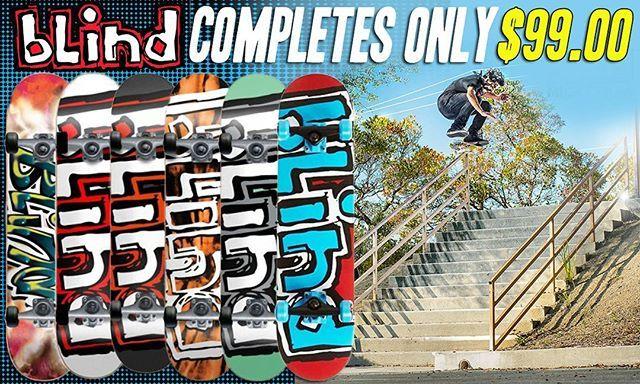 Grab a #Blind Complete, Already assembled ready to shred for $99.00!👌More #blindskateboard goods online. #skateboarding