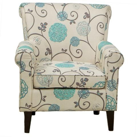 Rachelle Blue Floral Club Chair