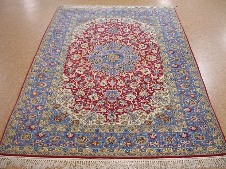 5 2 X7 Persian Isfahan Hand Knotted Wool Silk Red Blue