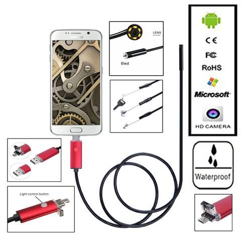 Smart Phone 8mm 6 LED PC Android Endoscope 2.0MP HD 720P Borescope Tube…