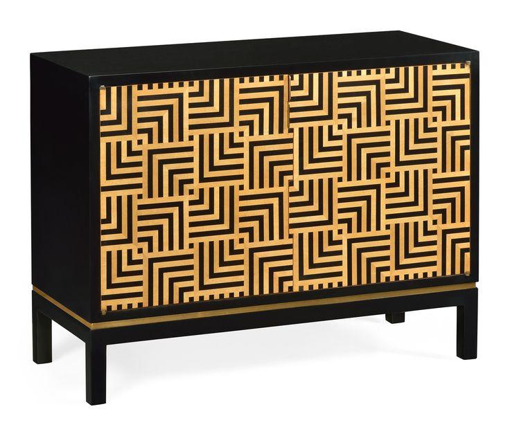 Black painted cabinet with geometric shape #JCmodern #jonathancharles #jonathan_charles_russia #jonathancharlesrussia #jonathancharlesfurniture