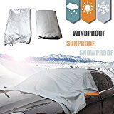 Windshield Sun Shade Half Top Snow Cover 70 x 59 Sizes for ALL Vehicles  Snow Ice Frost Guard No More Scraping! Sun Light Reflecting Surface  Heat Cold Windproof. Elastic Strap Attaches