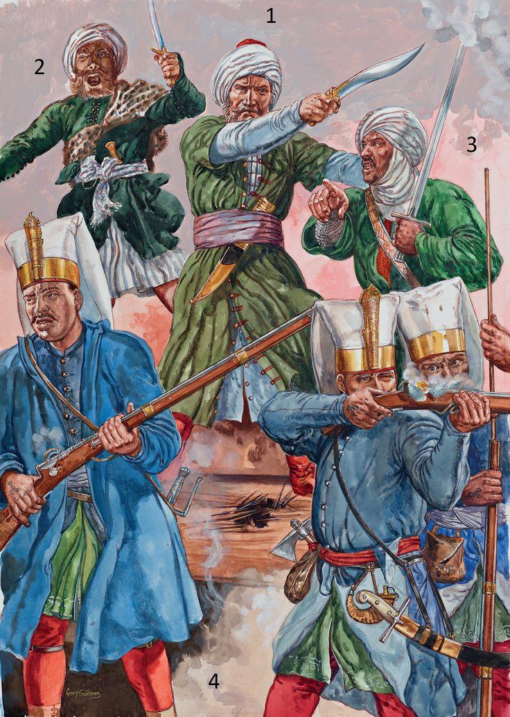 Battle of Preveza, 1538: 1: Turgut Reis; 2: Berber officer; 3: Hafsid Berber soldier; 4: Janissaries