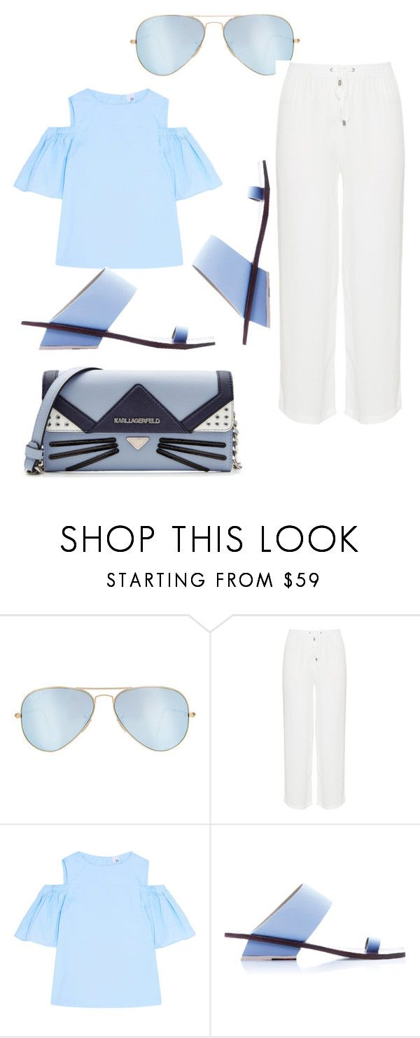 """Untitled #245"" by jaykate on Polyvore featuring Ray-Ban, Iris & Ink, Abcense and Karl Lagerfeld"