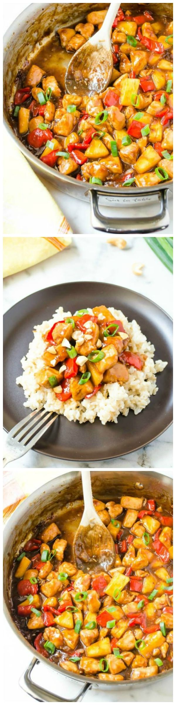 Honey Pineapple Chicken Teriyaki Skillet is a delicious 30 minute meal that's quicker to throw together than it is to pickup takeout! {GF}