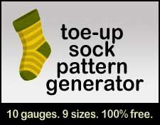 Very handy: Toe-up sock pattern generator, whatever your gauge or size   [Find more of Aunt Ruth's favorite knitting tech pins at https://www.pinterest.com/yrauntruth/fiber-knit-techniques-tutorials/ ]