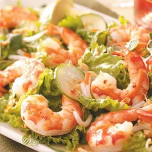 Spicy Asian Shrimp Salad Recipe -This flavorful main dish salad pairs well with a glass of Gallo® Family Vineyards White Zinfandel. The salad dressing also makes a wonderful marinade for grilled meats, poultry and fish.