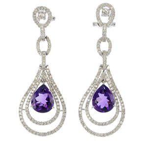 A pair of amethyst and diamond ear pendants.
