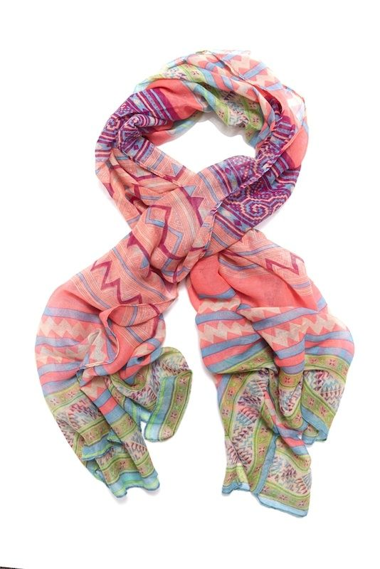 Geometric Aztec Scarf Candy Neon Pink - hardtofind.
