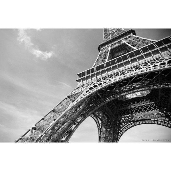Eiffeltoren Parijs zwart-wit fotografie, wand Decor, het platform... (€3,73) ❤ liked on Polyvore featuring home and home decor