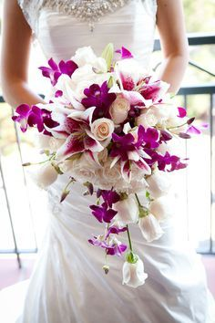 white peony bouquet with purple orchids - Google Search