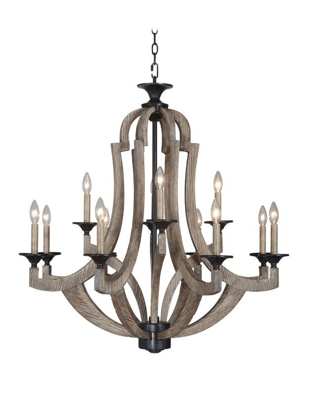 $800 - 8 light Winton Weathered Pine Chandelier, over kitchen table