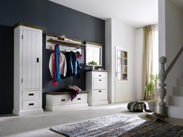 rustikale wei e garderobenkombination blance iii 5. Black Bedroom Furniture Sets. Home Design Ideas