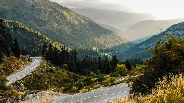 motorcycle roads : ascending to Baros Pass. Located in the Tzoumerka mountain region.