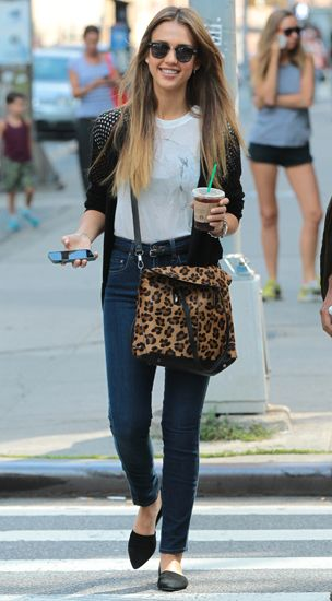 Love this casual outfit! Not to kean on the animal print bag...maybe change for a bright block colour