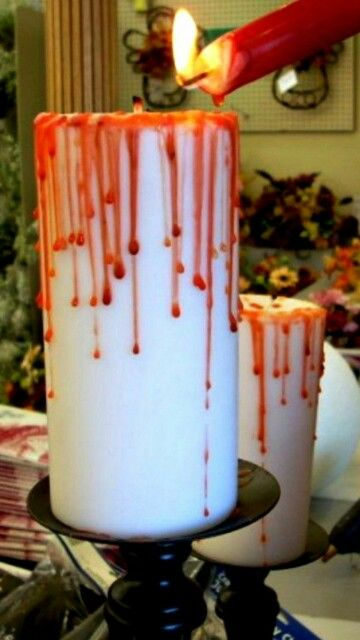 Bloody candle decor lol