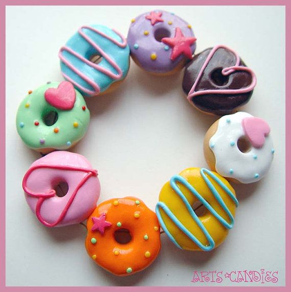 Donut Bracelet http://www.etsy.com/listing/98591147/ooak-arts-candies-original-stretchy
