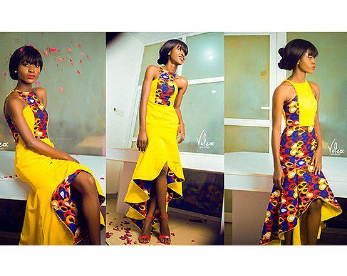 Afrikaanse gemengd print korte jurk Afrikaanse kleding