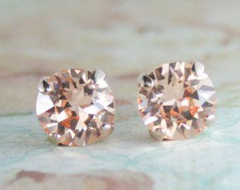 rose gold earringssilk crystal earringspeach by EndoraJewellery