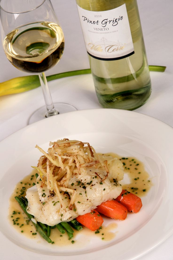 Main Course - Pan Roasted Halibut served with Crispy Fried Leeks and Chervil Beurre Blanc, Mild Mustard Mashed Potato, French Beans and Honey Roast Carrots