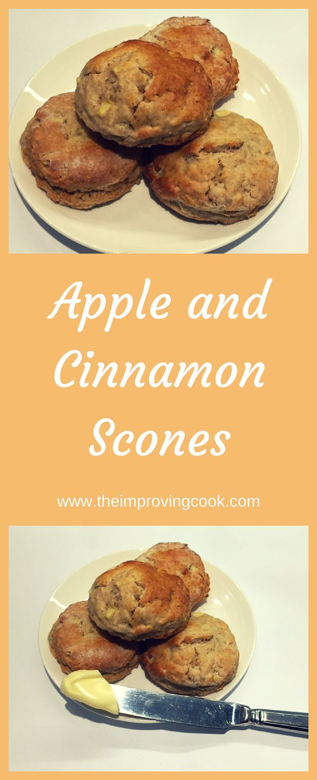 The Improving Cook Apple Cinnamon Scones recipe. Gorgeous moist cinnamon scones with little chunks of apple through them.  Must eat warm with lashings of butter! Perfect for breakfast or afternoon tea, English style.