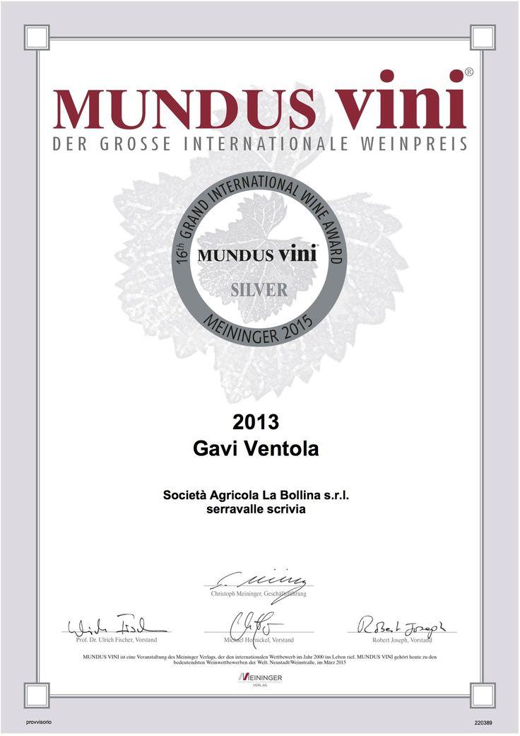 SIlver Medal    #mundusvini#gavi#ventola
