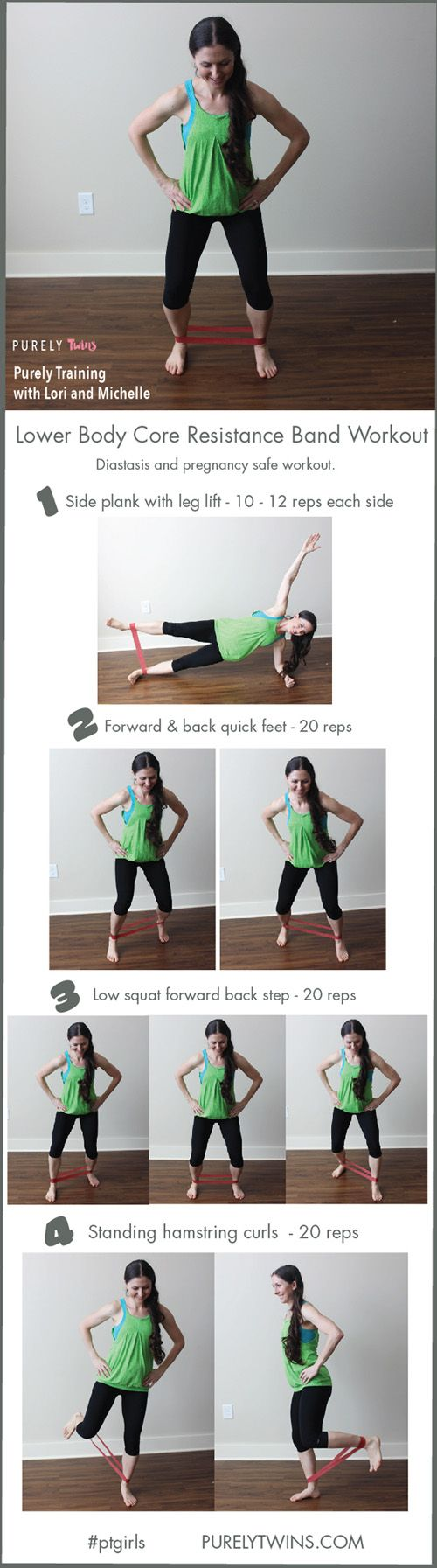 Resistance band workout to get a tight core and sexy legs for women and moms! Little space required. You don't need to lift super heavy to get a great leg workout in at home. Follow these 4 exercises to strengthen and tone your lower body and core. Share this workout with your friends and do this workout with me.