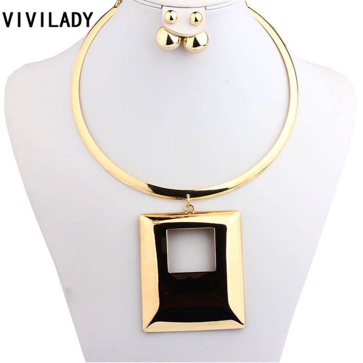 VIVILADY Fashion Statement Square Jewelry Sets Women Mother Gold Plated Collar Chokers African Necklaces Earrings Birthday Gifts