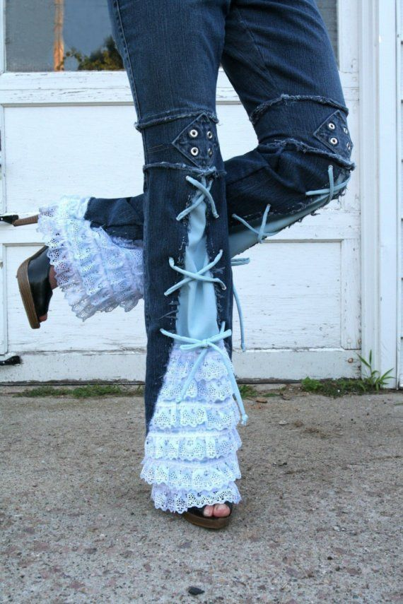 Love the Look!!! --  Chelsie Belles designer    Girl that has it all blue jeans.  recycled  lace ruffle grommet embellished jeans any size.  Etsy.