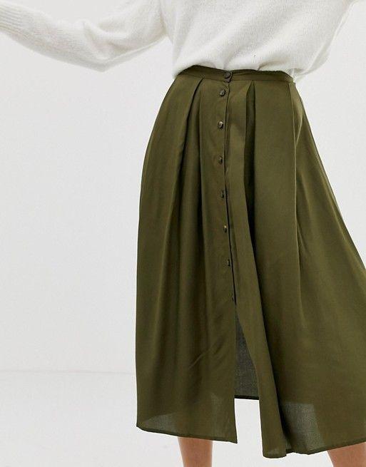 b67c727c0f41 ASOS DESIGN   ASOS DESIGN button front floaty midi skirt with pleats $40